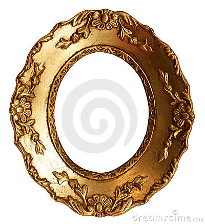 Old Small Gold Wood Mirror Frame with Ornaments