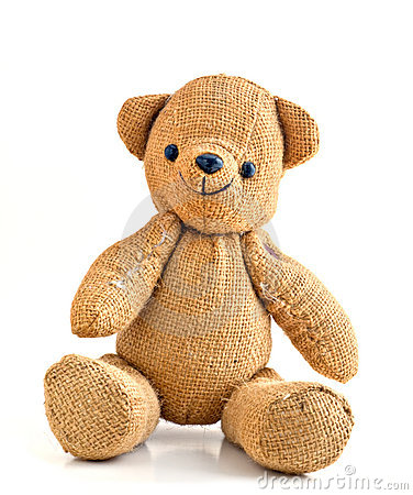 Old Smiling Burlap Teddy Bear Royalty Free Stock Photography - Image ...
