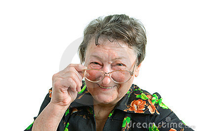 Old smiling woman wearing glasses