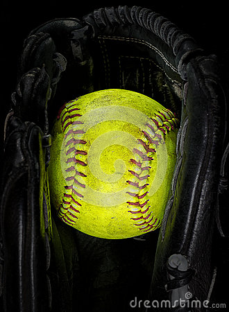 Free Old Softball In A Glove Stock Images - 51414174