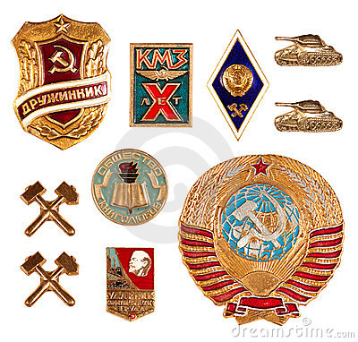 Old soviet badges Editorial Image