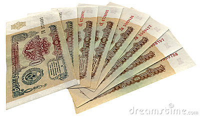 Old soviet denominated russian ruble isolated,