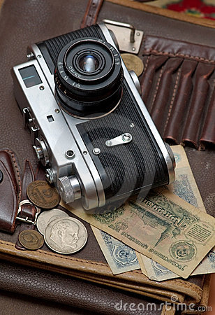 Free Old Soviet Film Camera And Money Royalty Free Stock Photos - 4310498