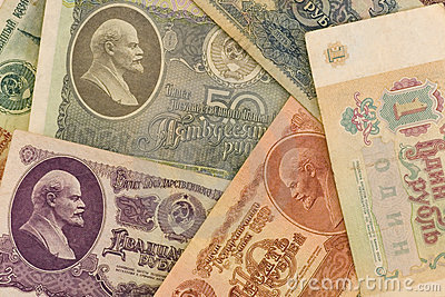 Old soviet paper money with Lenin portraits