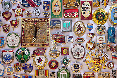 Old Soviet Propaganda Badges - Russia Editorial Stock Photo
