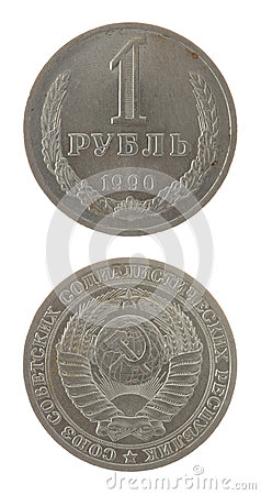 Old Soviet Ruble Coin Isolated on White