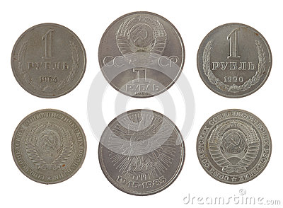 Old Soviet Ruble Coins Isolated on White