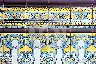 Old spanish ceramic tiles wall