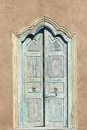 Old Spanish Style Door Thru An Adobe Garden Wall Stock ...