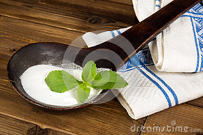 Old spoon with fresh stevia leaf