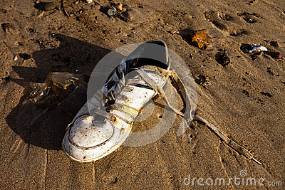A old sport shoe in beach