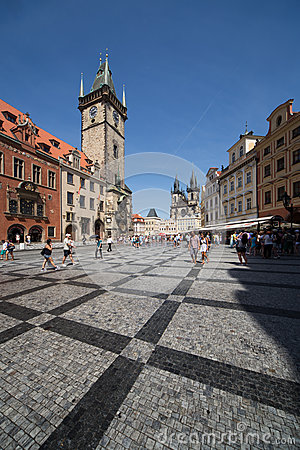 Old Square and Clock Tower in Prague Editorial Photo