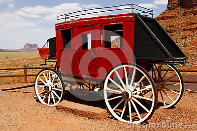 Old stage coach at Monument Valley, Utah, USA