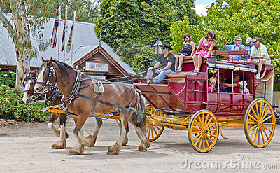 Old stagecoach in in Port of Echuca. Editorial Stock Image