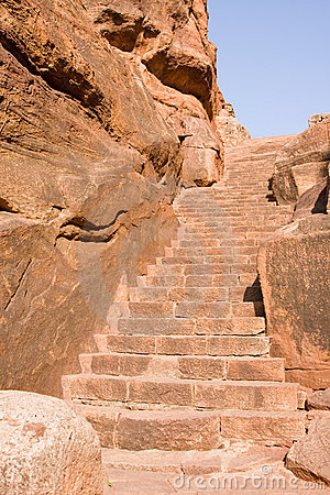 Old stairs leading to temple on the cliff