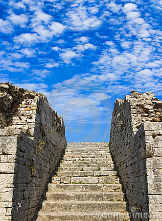 Old stairs and sky