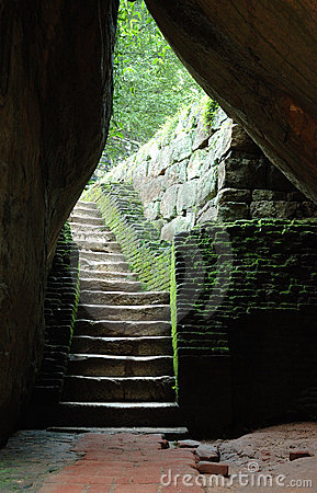 Old stairs to cave