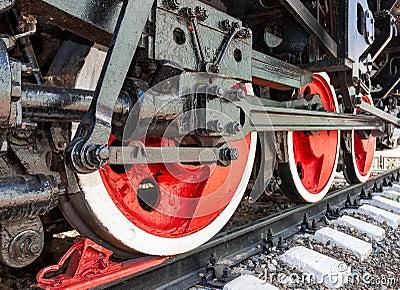 Old steam locomotive engine wheels