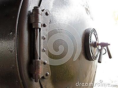 Old steam locomotive s boiler