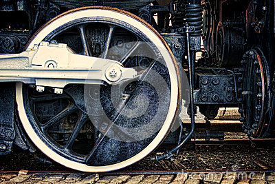 Old Steam Locomotive Vintage Drive Wheel Grunge
