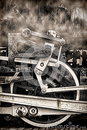 Free Old Steam Locomotive Vintage Wheels And Smoke Royalty Free Stock Image - 24951556