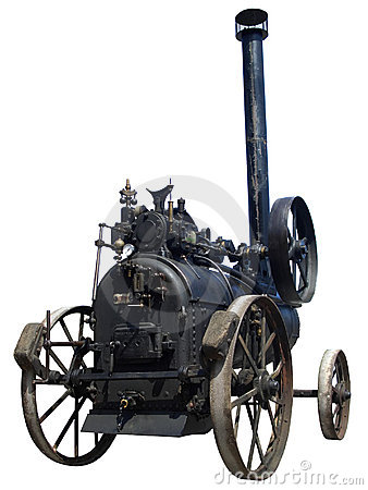 Old steam tractor isolated