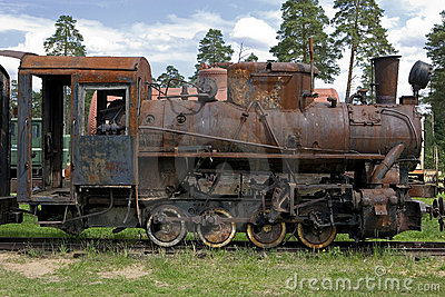 Old steam train at a railway museum