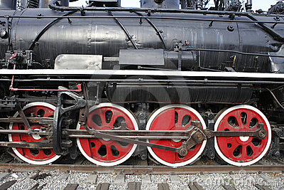 Old steam train s wheels