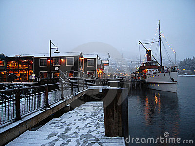 Old steamer at wharf in winter