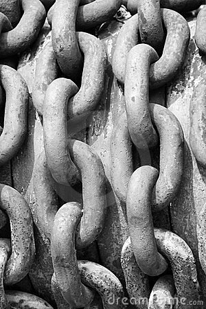 Old steel industrial chains