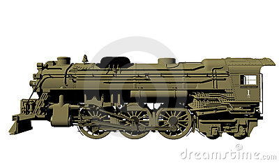 Old steel locomotive isolated on white