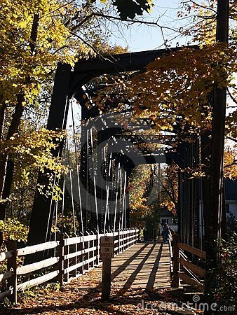 Old steel-truss footbridge