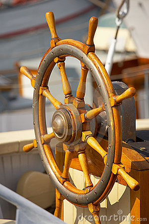 Old steering  wheel - sailing boat