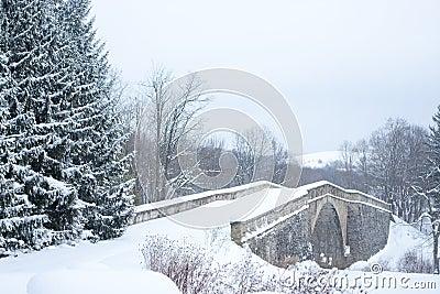 Old Stone Bridge in Winter