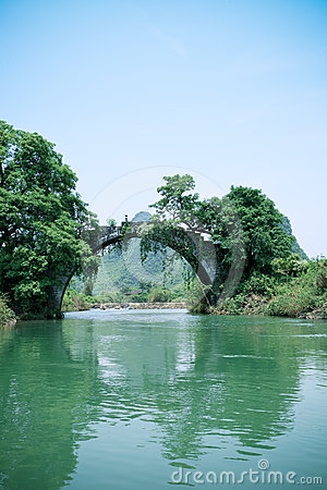 Old stone bridge in yangshuo