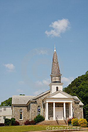 Free Old Stone Church On Hill With Wood Shingle Steeple Royalty Free Stock Photos - 20777018