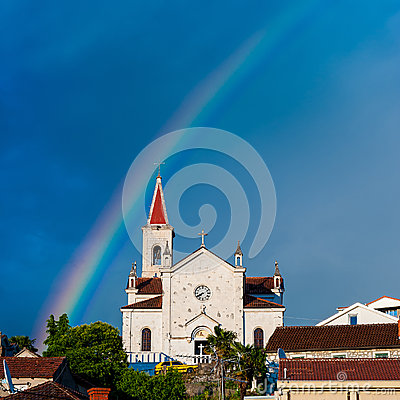 Free Old Stone Church With Rainbow In Sky In Dalmatia, Croatia Royalty Free Stock Photo - 43660065