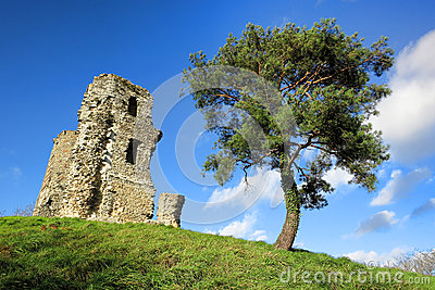 Old Stone Medieval Castle Tower Ruins on Hill