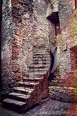 Old stone stairs and house
