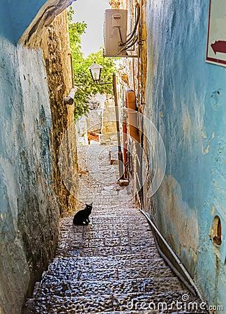 Free Old Stone Street Alleyway Black Cat Safed Tsefat Israel Stock Image - 83501551