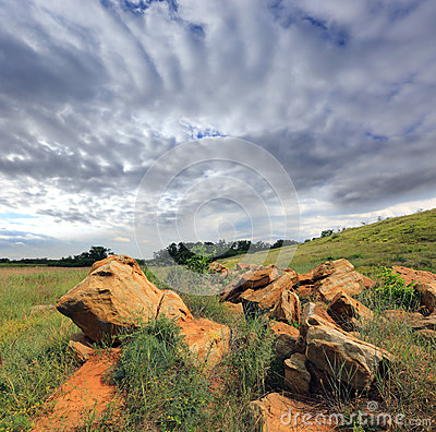 Old stones  in steppe