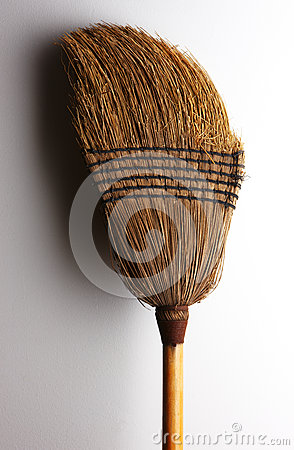 Old straw broom