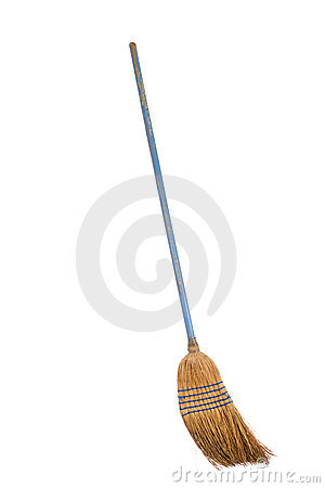 Free Old Straw Broom Ready To Sweep Isolated On White Royalty Free Stock Image - 13531836