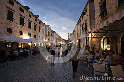 Old street and cafes at night in Dubrovnik Editorial Stock Image