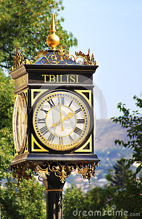 Old street clock in Tbilisi