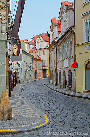 Old street with colorful houses, Prague