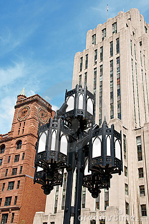 Old street lamp and skyscrapers in Montreal