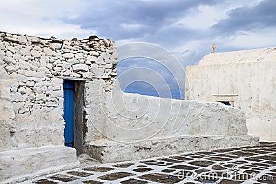 Old street at Mykonos island in Greece