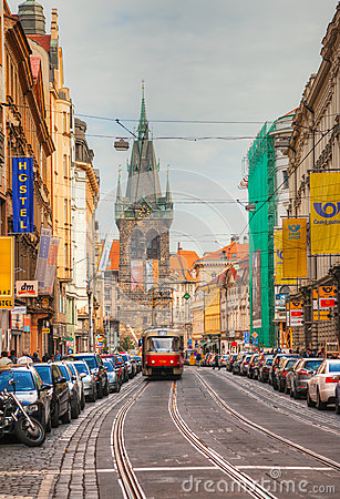 Old street at Prague historical center Editorial Photo