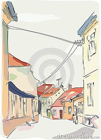 Old street in Sibiu Romania